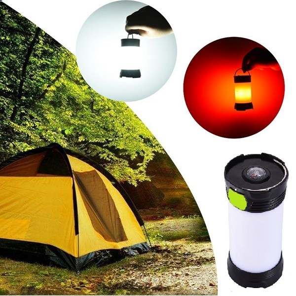 Protable LED Rechargeable Camping Lantern Night Light DC3.7V 5W ABS Adjustable Brightness White Red Light USB Charging Lamp