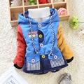 Осень Зима детские Толстовки Пальто Мальчиков Верхняя Одежда Толстые Теплые Хлопка-ватник Moleton Infantil для 0.5-4 Лет
