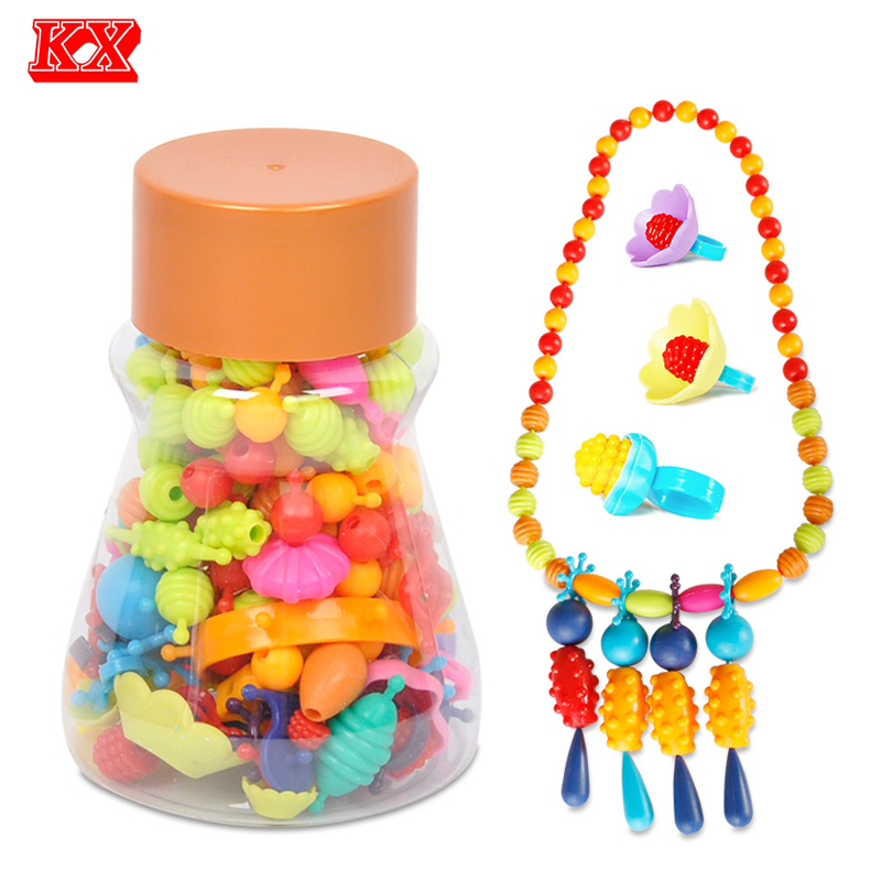 160pcs Pop Beads Children Cordless Snap Together Toy Jewelry Necklace Ring Bracelet Kids Making Kit Craft Gift for Girl D51