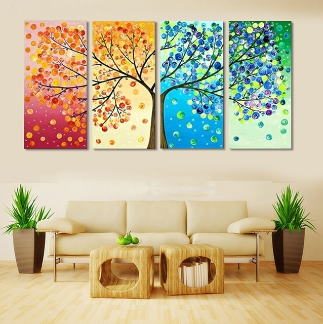 4 Piece Colourful Leaf Trees Canvas Painting Wall Art Spray Home Decor For Living