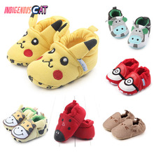 New Baby Shoes First Walking Pure Cotton Cartoon Slippery Bed 0-6 7-12 13-18M