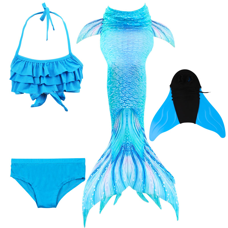 2019 New Blue Children Mermaid Swimwear Girls Colorful Bikini Children Split Kids Swimsuit Mermaid Tail With Monofin Fin