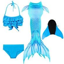 2020 màu hồng Trẻ Em Màu Xanh Dương Đồ Bơi Nàng Tiên Cá Bé Gái Nhiều Màu Sắc Bikini Trẻ Em Chia Áo Tắm Trẻ Em Người Cá với Monofin Vây