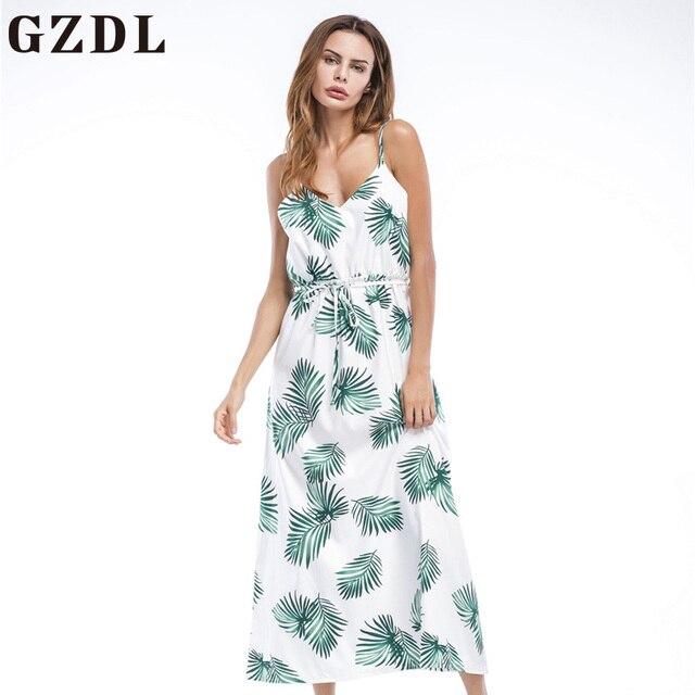 408a58fe06 GZDL Boho Deep V Neck Backless Sexy Dress Beach Casual Summer Women Long Dress  Spaghetti Strap Leaf Print Summer Dresses CL4101