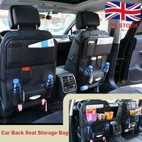 PU Leather Back Organiser Storage Bag Foldable Tidy Tray Holder Black Car Seat