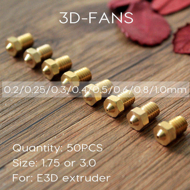 50Pcs E3DV6 Brass Nozzle 0.2/0.25/0.3/0.4/0.5/0.6/0.8/1.0 For 1.75mm 3mm Filament E3D V6 V5 Copper Nozzle Extruder Print Head