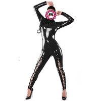 Sexy Black Sleeves CatWomen Uniform Jumpsuit Bandage Catsuits Latex Clothes Sexy PVC Fetish Costumes Catsuit Bodysuit