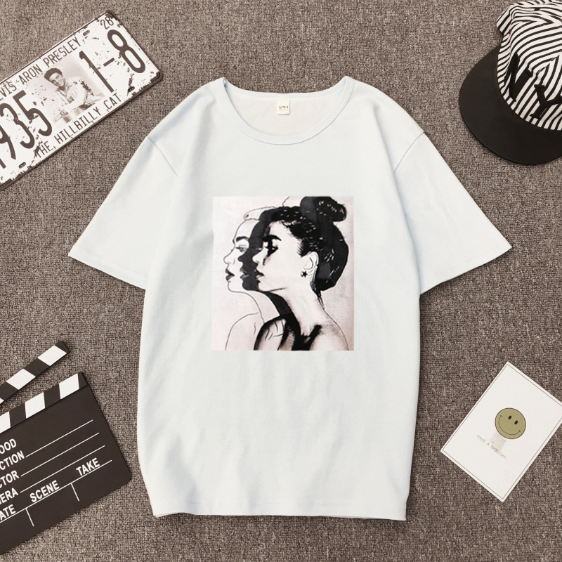 Drop Ship Women Print T Shirt Short sleeve Tops Fashion Female Loose Bottoming Tees Shirt NV165 P in T Shirts from Women 39 s Clothing