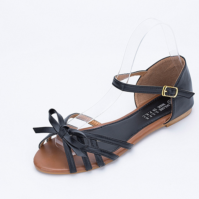 8812818b758a Womens Ankle Strap Leather Flat Sandals Strappy Low Heel Butterfly Knot  Fish Mouth Rome Ladies Gladiator Sandal Black White Pink