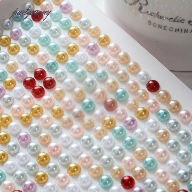 PF 6mm 260pcs set Pearls Stickers Adhesive for Crystals Rhinestones Kids  Adhesive Glases for Album Phone Hats Battery Car TZ046 7bb83ba2b701
