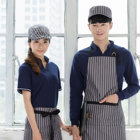 cool chef baseball caps hats hotel cotton striped hat cap waiter kitchen berets women