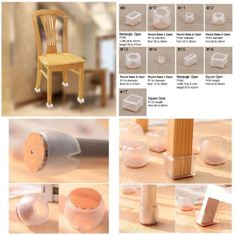 10pcs Silicone Rectangle Square Round Chair Leg Caps Feet Pads Furniture Table Covers Wood Floor Protectors   HVR88