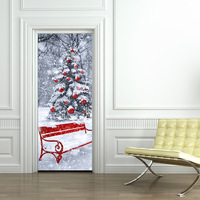 Christmas new look imitation 3D door sticker can remove wall stickers Christmas tree European simple wooden door