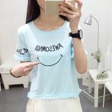 Fashion Women Letter Print Crop Top Summer Casual Loose Short Sleeve T Shirt O-Neck Tassel Korean Style Shirts Female