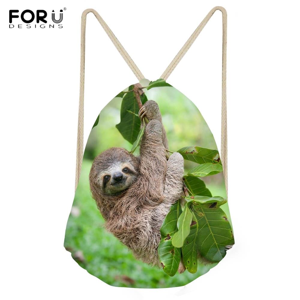 FORUDESIGNS Cute 3D Animal Sloth Printing Boys Girls Drawstrings Bags Casual Softback Kids Backpacks Multi-function Storage Bag