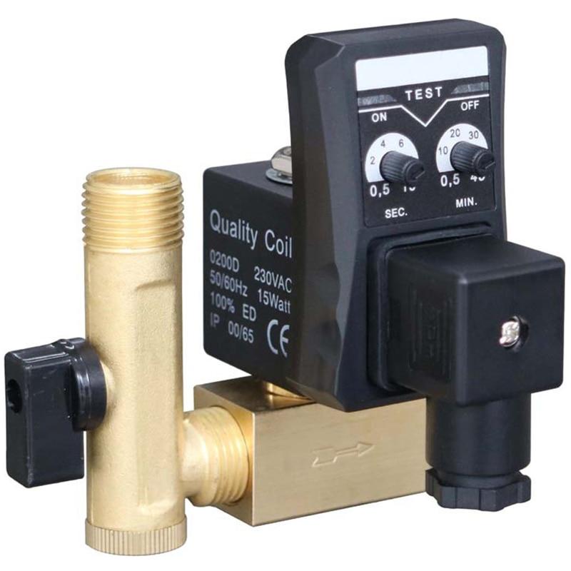 Электронный сливной клапан 1/2 дюйма Dn15 Электрический таймер автоматический водный клапан соленоид 2 способа для воздушного компрессора конденсата высокого качества