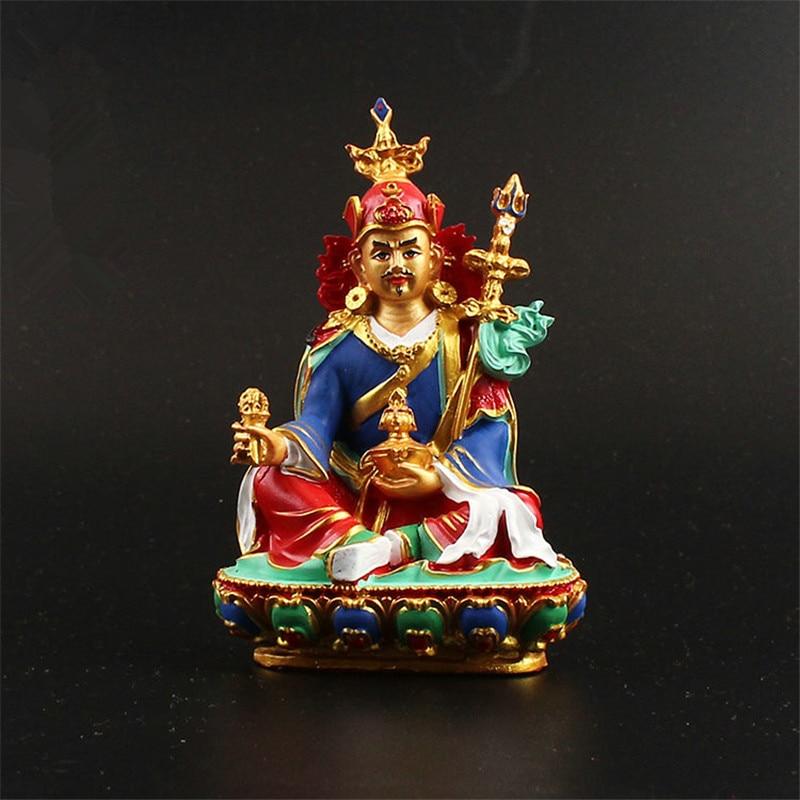Tibetan Buddhist Tantric Supplies 12.5cm Padmasambhava Figurine Constant Auspicious Exquisite Hand Painted Resin Solemn Buddha