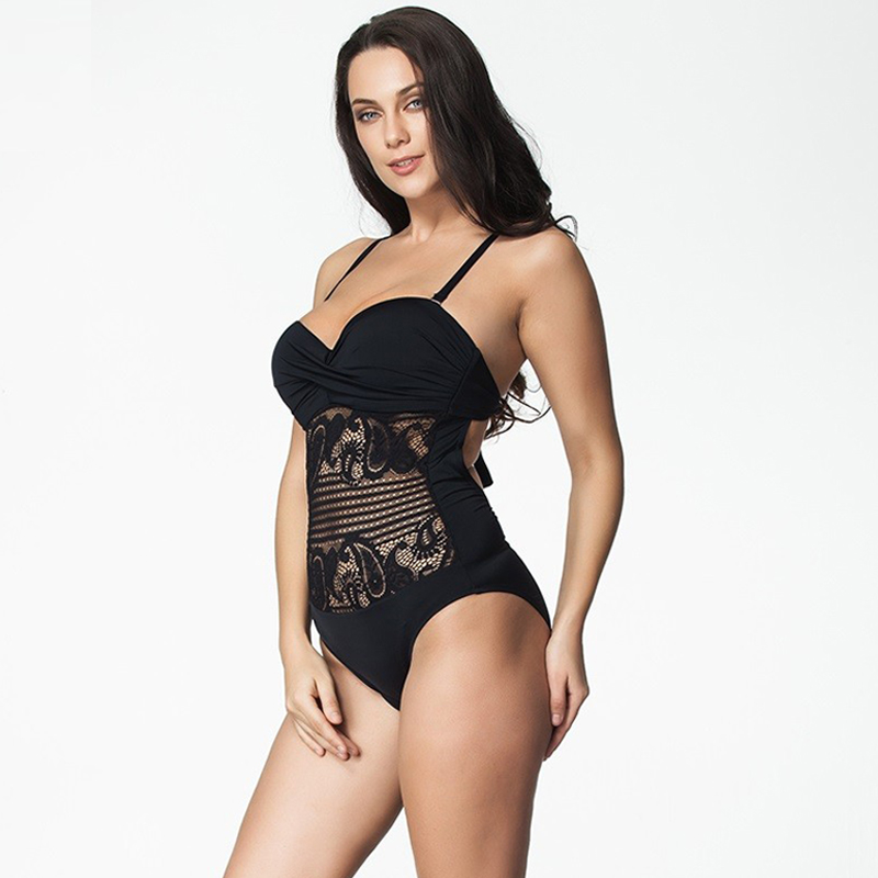 41bc40e357bde One Piece Swimsuit 2017 Plus Size Swimwear Women Vintage Retro Lace Push Up Bathing  Suit Beach Wear Swimming Suit For Women 6XL-in Body Suits from Sports ...