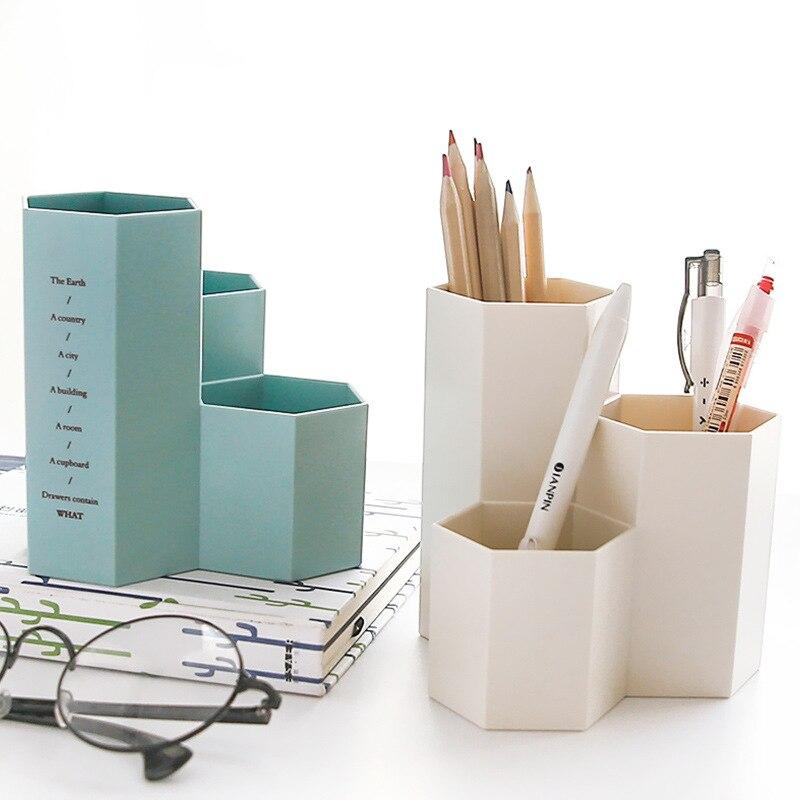Fresh Hexagon Pencil Pen Makeup Brush Cosmetic Brush Cosmetic Tool Simple Plastic Desktop Storage Box