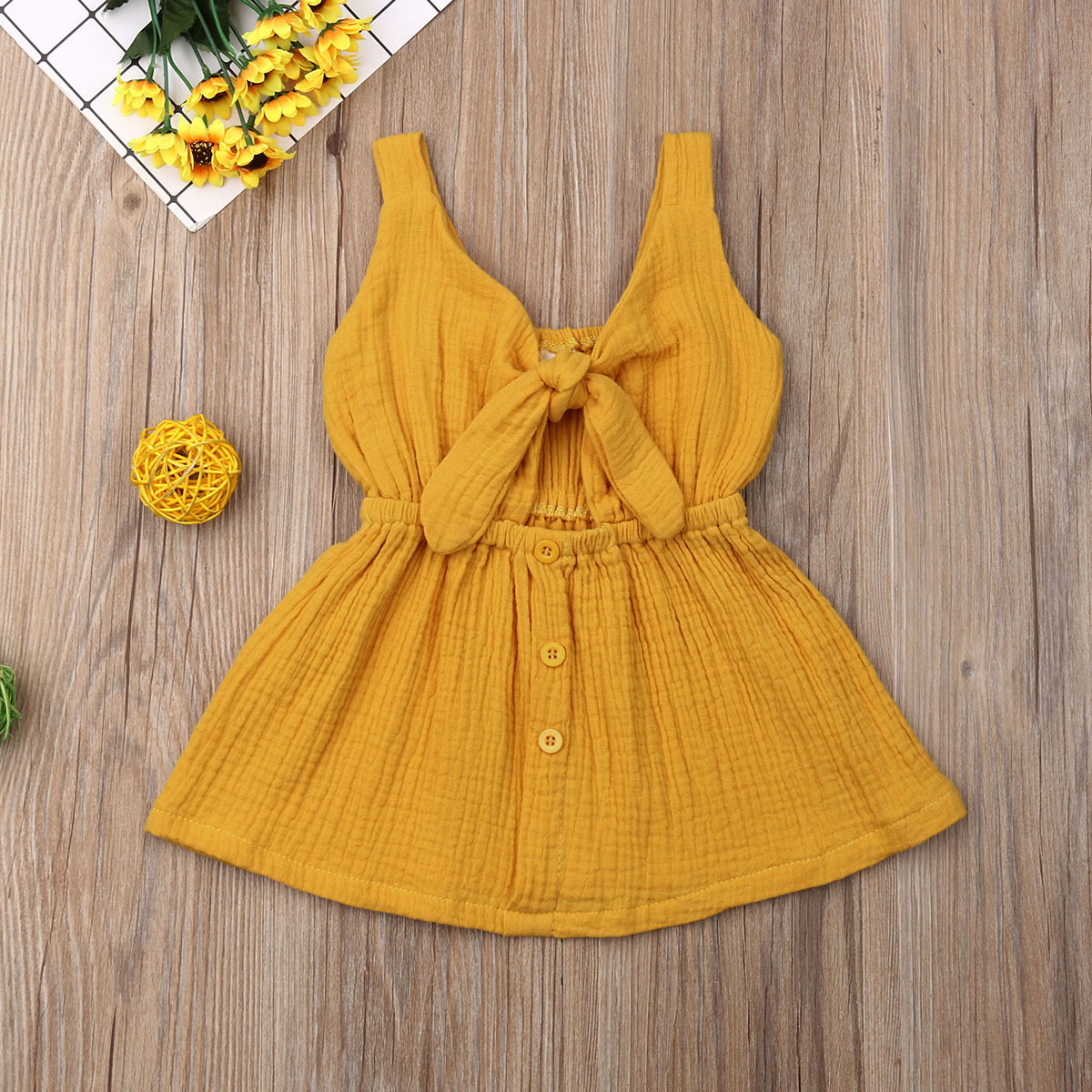 Pudcoco Summer Toddler Baby Girl Clothes Solid Color Sleeveless Strap Ruffle Cotton Dress Button Bowknot Casual Sundress