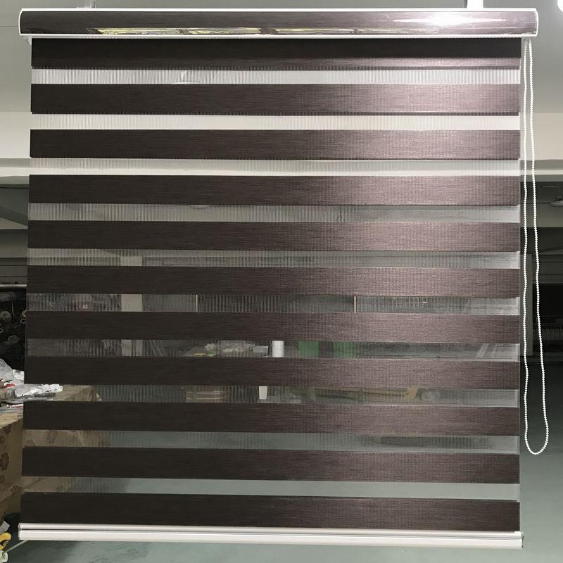 Horizontal Window Shade Blind Zebra Dual Roller Blinds Treatments Window Custom Cut to Size Dark Brown