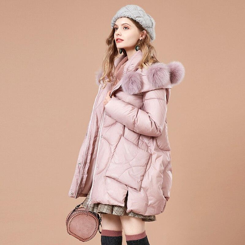 2018 Capuche Outwear Artka De Épais 90 Avec Pompon Duvet Poches À Fourrure Femmes Solide Manteau Zk10281d Canard Femme D'hiver Col Longtemps Chaud Fwpwdq