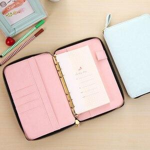 Image 2 - Fromthenon bordado espiral zíper caderno e diário agenda livro capa de couro do plutônio planejador material de escritório e escola