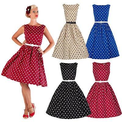 fb410227 US $6.23 40% OFF|Pani lat 50 lat 60 ROCKABILLY sukienka w stylu Vintage  styl huśtawka Pinup Retro gospodyni domowa sukienka na imprezę kobiety w ...