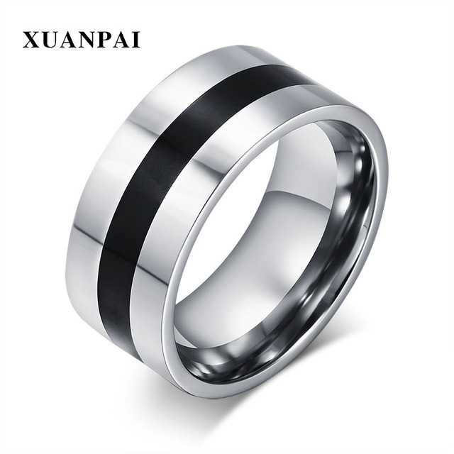 Xuanpai Thin Black Line Men S Ring Stylish 9mm Stainless Steel Wedding Bands Rings For Male Boy