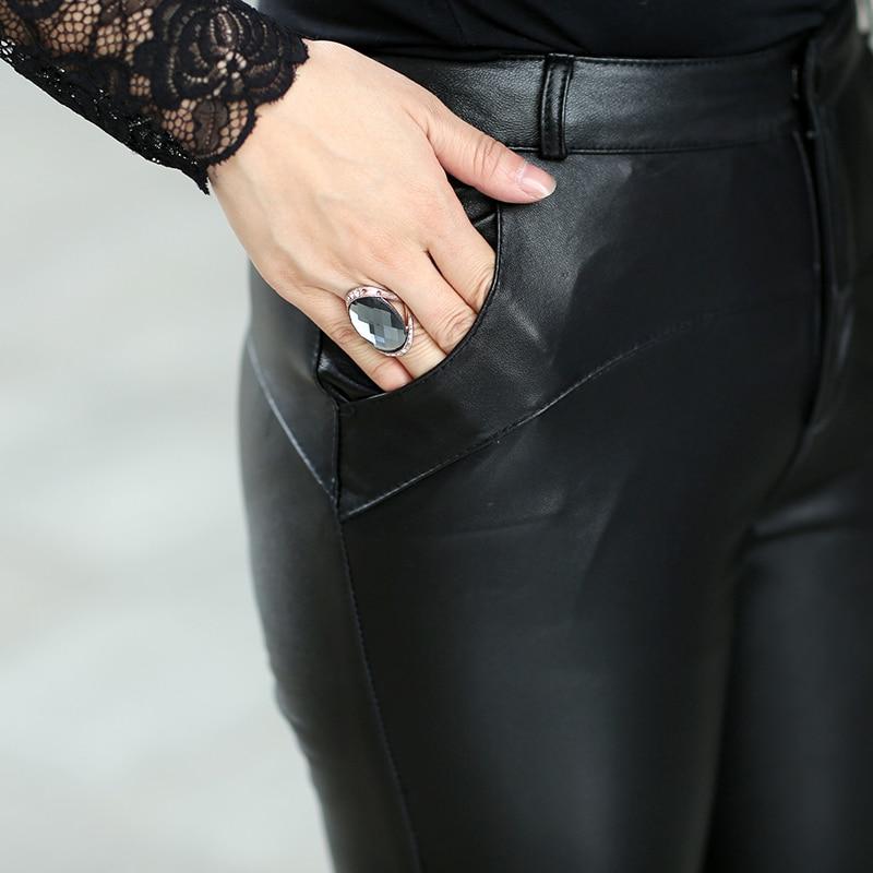 2020 корейские новые Утепленные зимние женские брюки из натуральной кожи, узкие брюки из овечьей кожи, тонкие женские модные сексуальные обтя... - 3