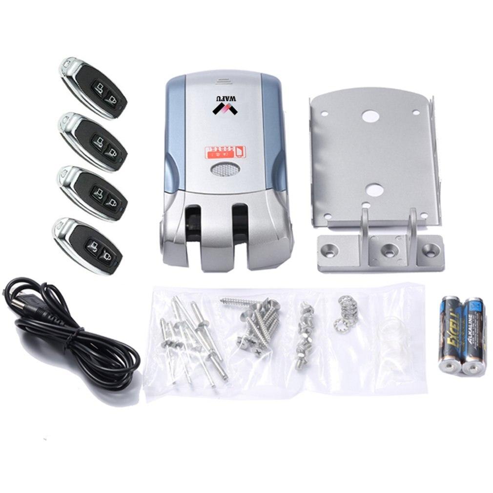 WAFU télécommande sans fil serrure électronique Invisible sans clé serrure de porte d'entrée avec 4 télécommandes argent