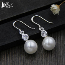 Hot Sell Fashion 10.50mm Shell Pearl Wedding Earring 925 Sterling Silver Ladies`Drop Earrings Female Jewelry Gift Promotion