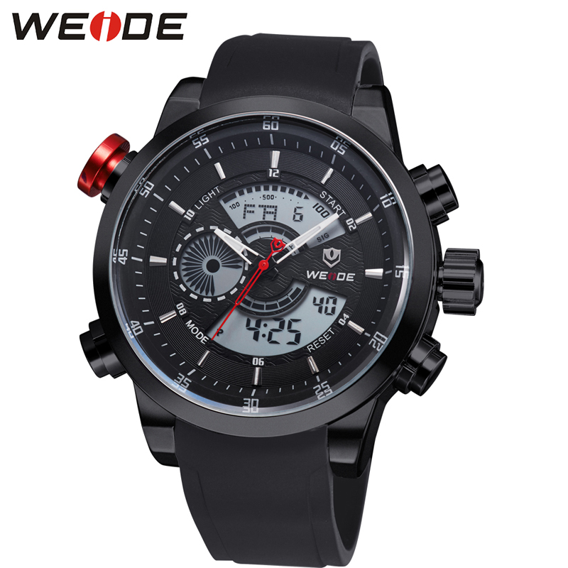 WEIDE Brand Men Fashion Sports Watches Men's Quartz Dual Display Army Military Wrist Watch Rubber Strap Watch Relogio Masculino brand weide fashion casual men watch black silicone strap 3atm waterproof dual display wristwatch relogio masculino sale items
