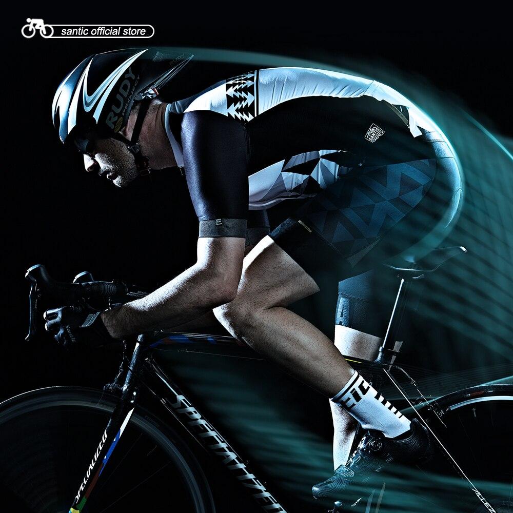Santic мужские Велоспорт короткие Джерси про Фит высокая эластичная ткань светоотражающие манжеты Дорожный велосипед с коротким рукавом Велоспорт одежда M7C02110
