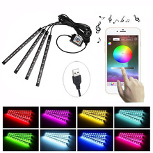 Car Styling LED Atmosphere Light RGB Remote / APP Control Footwell Lights 5V 4 in 1 USB 48 LEDs Auto Interior Decoration Lamp