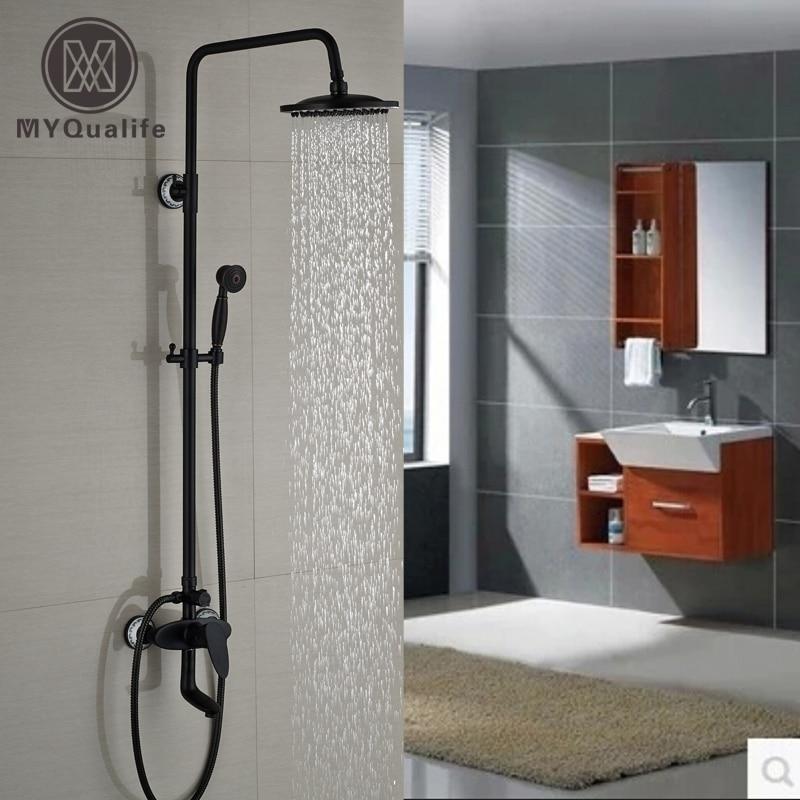 Oil Rubbed Bronze Bath Tub Shower Faucet Single Handle Adjust Height Shower Mixer Taps 8 Rain Showerhead