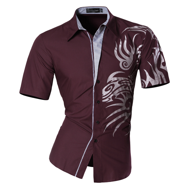 Mens 2019 Summer Fashion Print Casual Slim Fit Short Sleeve Male Mixed colors Pocket Office Shirt Z031 in Casual Shirts from Men 39 s Clothing