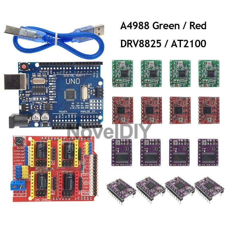 Lecimo CNC Shield Board A4988 Controlador de Motor Paso a Paso para Impresora 3D Grabador Arduino V3