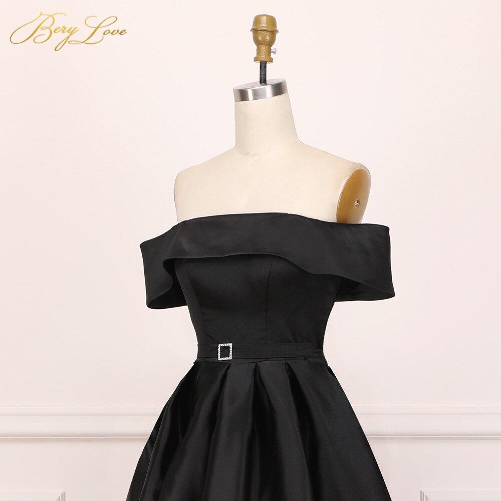 BeryLove élégant épaule dénudée Blush rose robe de soirée 2019 Satin soirée ceinture mode robe de bal fente formelle robe de soirée longue - 4