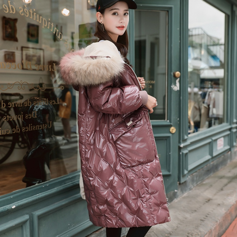 winter Fashion brand glossy fabric natural fur hooded 90% duck   down   parkas winter was thin longer thicker warm   down     coat   wq635