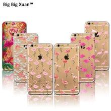 2016 nova rosa flamingo tpu tampa da caixa macia para iphone 6 6 s mais 5 5S SE Transparente Bonito Animais de Silicone Casos de Telefone Celular Capas