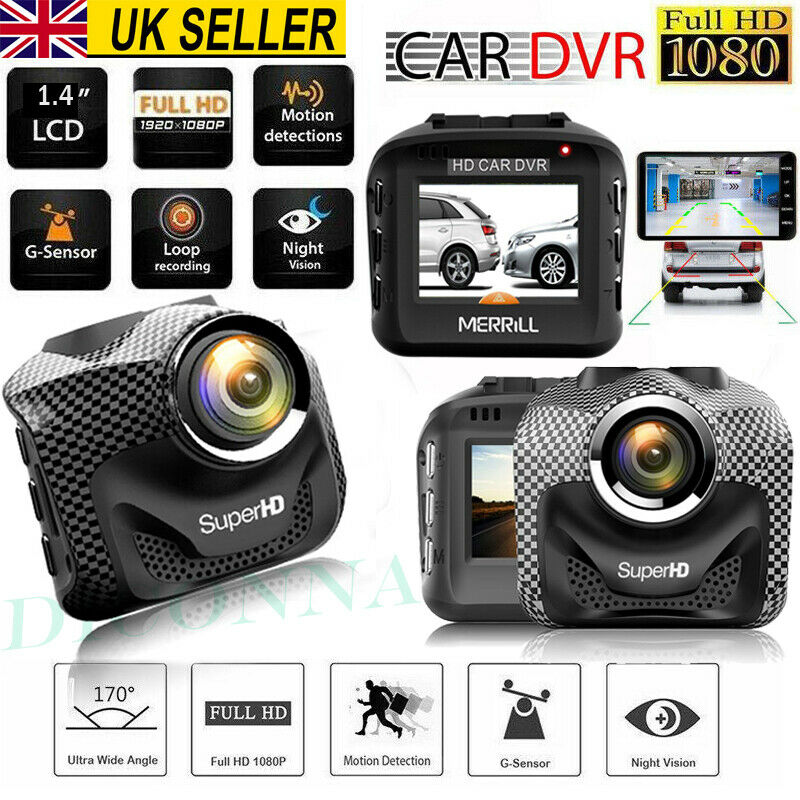 """4/"""" HD 1080P Dual Lens Car Dash DVR Camera Video Recorder Dash Cam G-Sensor GPS"""