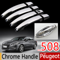 For Peugeot 508 Chrome Handle Covers Trim Set of 4Pcs 508SW RXH  2011-2016 Good Quality Car Accessories Stickers Car Styling