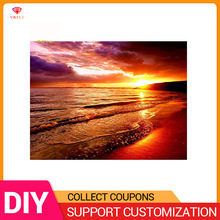 YIKELA 5D DIY Diamond Painting Scenery Sunset Beach Full Drill Round Stitch Picture Mosaic Embroidery Diy Display Festival Decor