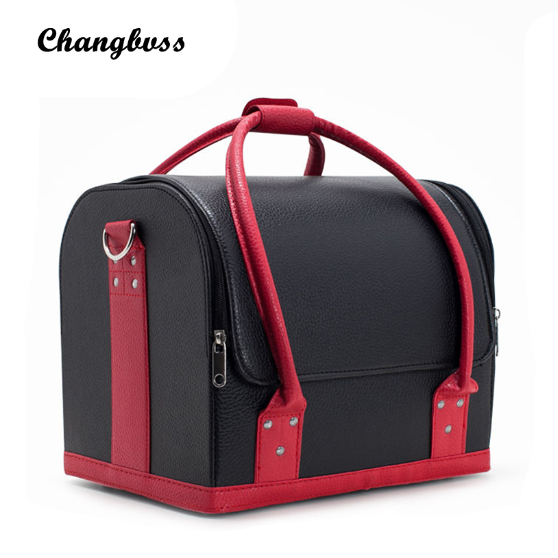 Professional Women Cosmetic Bag Portable Beauticians PU Leather Make Up Storage Box Travel Cosmetics Organizer Lady Makeup Case travel beauticians professional cosmetic makeup bag large capacity beauty organizer women portable makeup storage box neceser