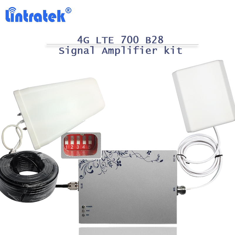 2018 Lintratek 4G Lte 700 Mhz Repeater Booster Band 28 AGC/MGC With Antenna 75dB Gain Mobile Phone Signal Amplifier Full Kit S39