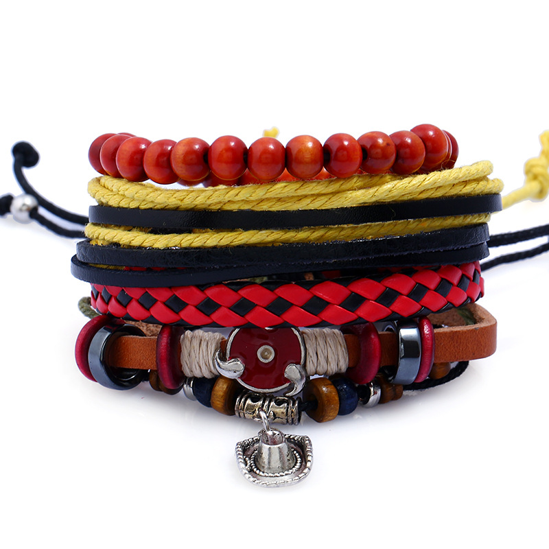4Pcs/Lot Anime Naruto Leather Men Bracelets Bangles Women Rope Bracelet Male Braslet Femme Pulseiras Red Beads Bracelets Gifts