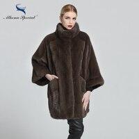 Athena Special 2018 Brand Fur Clothing Women Sable Genuine Mink Coat 85CM Length Mandarin Real Natural Fur Coat Mink Medium