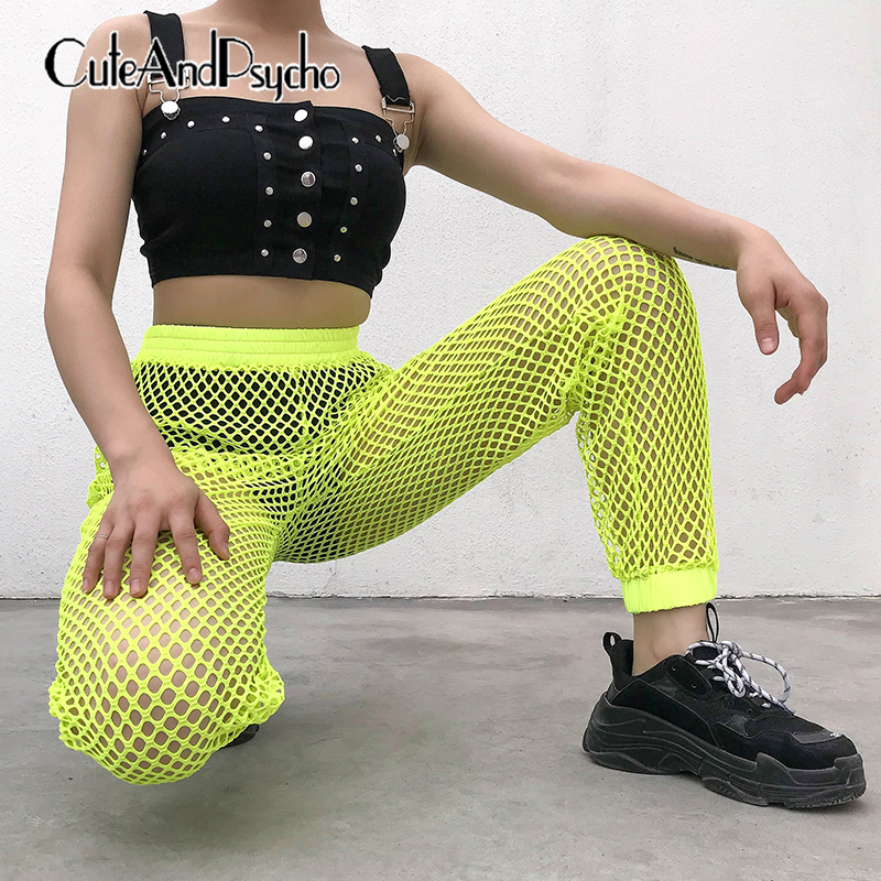 2019 New Women Neon Yellow   Pants   Casual Ladies Mesh Hole Trousers Sexy High waist   Pant     Capris   Summer Streetwear cuteandpsycho