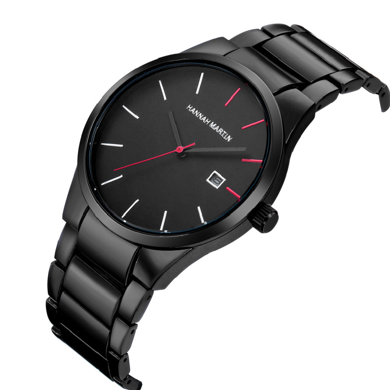 купить Hannah Martin Watch Luxury Stainless Steel Men Watch Top Brand Auto Date Wrist Watch Men Clock relogio masculino erkek kol saati по цене 758.17 рублей